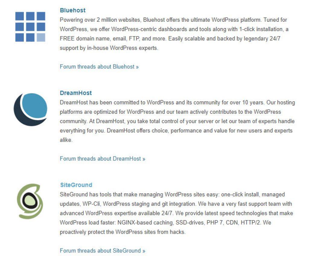 شركات استضافة يرشحها موقع ووربريس الرسمي : بلوهوست, دريم هوست و سايتجراوند