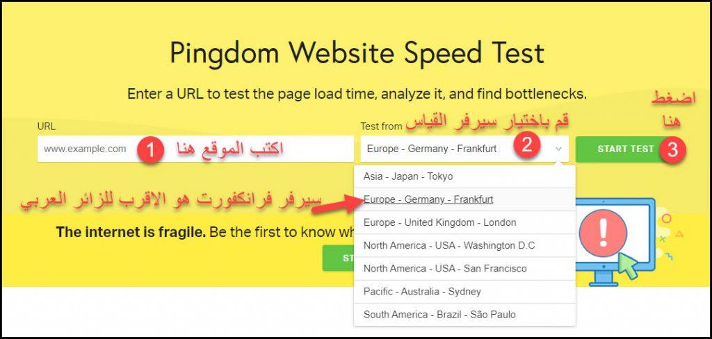 خطوات استخدام اداة بينج دوم pingDOM في قياس سرعة الموقع